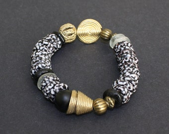 African Bracelet, Ghana Krobo Refashioned Glass Beads, Black and White with Brass Beads, Handmade, Great Gift Idea, 6 inches
