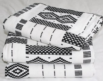 Black and White Kente Fabric from Ghana, Authentic Handwoven Traditional Cotton Festive Cloth, 3-piece bundle, Approx 5.3 Yards