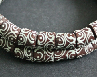 1 Strand Brown African Beads, Ghana Recycled Glass, Hand-made Krobo 10-11 mm Tubes for Jewellery and Crafts, One Strand