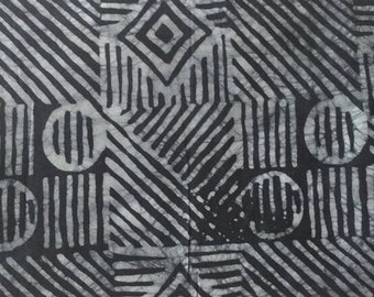 African Batik Fabric by the Yard,Ghana Ethnic Cotton Cloth,Preshrunk,Hand-Dyed, Charcoal/Grey Ethnic Print, for Clothing, Interiors and More