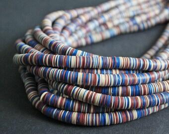 8mm African Vinyl Beads Vulcanite Heishi Disc Spacers, Long strand 34-35 inche Long, Blue, Red & Cream