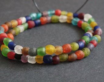 African Beads, Handmade Recycled Glass from Krobo in Ghana, 6-7 mm Multi-Colours, Round, Full Strand of 70 or Pack of 35