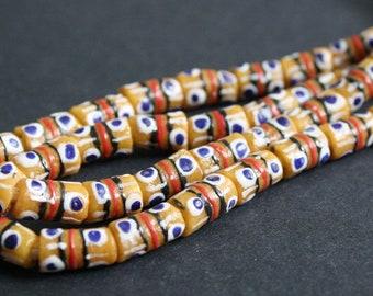 19 Mustard African Beads, Krobo Ghana Recycled Glass, Hand-made Tubes, 12-13 mm, One Strand