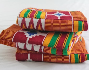 Ghana Kente Fabric, Wedding and Occasion Wear, Cotton, Red, Gold, White, Blue, Green, 1 large Piece or Bundle of 3 (approx 2 or 5 yards)