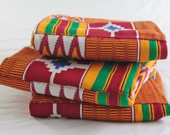 Ghana Kente Cloth Fabric, Wedding and Occasion Wear, Cotton, Red, Gold, White, Blue, Green, 3 Size Options