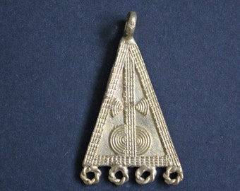 African Brass Pendant, Handmade Ethnic Ghana 'Lost Wax' Craft, Triangle, 67 mm