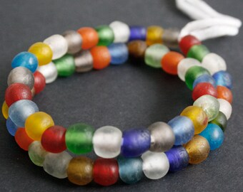 20 Round African Beads, Handmade Recycled Glass from Krobo in Ghana, 10-12 mm Multi-Colours