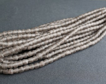 35 African Beads, Ghana Recycled Glass, Hand-made, 7mm Round, for Jewelry and Crafts, Taupe Grey