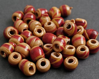 African Beads, Handmade Recycled Plastic, Approx 12-14 mm, for Jewelry and Crafts, Brown/Red, Pack of 54, for beading and crafts
