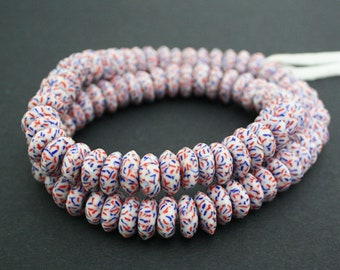 20 African Disc Beads, Handmade Refashioned Glass,  Krobo, Ghana 13-14 mm Spacers, White/Red/Blue, for Jewelry and Crafts