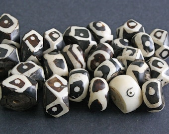 24 African Beads, Batiked Kenyan Bone Beads Handmade, Mixed Lot of 6 Designs, 18 to 29 mm