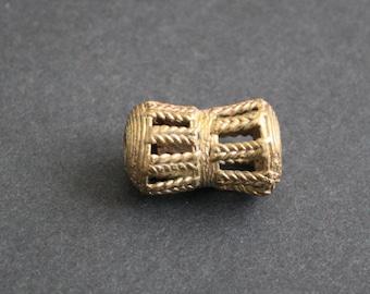 African Brass Beads, Djembe Drum-Shaped, Ashanti Ghana Lost Wax, 32 mm, Hand-made