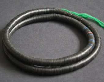 10 mm African Heishi Vinyl  Vulcanite Beads,  Discs, Very Thin for Jewellery and Crafts,  36 inches, Long Strand, Black