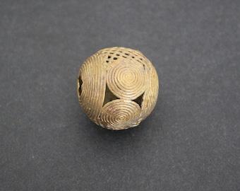 Large African Brass Bead, Ashanti Ghana Lost Wax, Globe, Round, 35 mm, Handmade