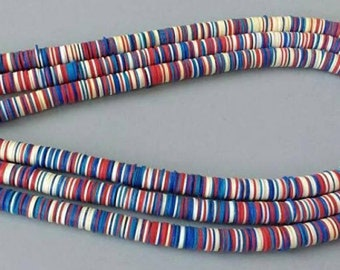 8 mm African Vinyl Beads, Vulcanite Heishi Discs, Very Thin, for Jewellery and Crafts, 35 inches, Mixed Blue, Red and Cream