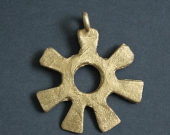 African Brass Pendant African Handmade Ashanti  Adinkra* Symbol of Creativity and Wisdom, for Statement Jewellery or Crafts