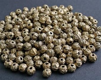African Brass Beads, 10 mm Ashanti Ghana Lost Wax Technique, Wavy/Stripe Design