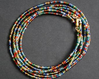 Waist Beads, Multi-Coloured Glass 3 mm Beads with Silver Colour or Gold Clasp Very Pretty
