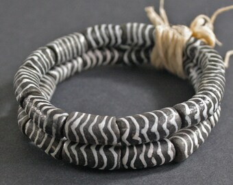 Black African Tubes Beads Zig Zag Stripes, Handmade Recycled Glass from Ghana's Krobo, 18-20 mm, One Strand of 12, for Beading and Crafts