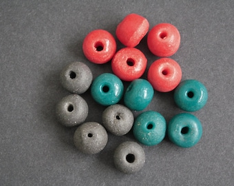 15 African Beads, Large Krobo Recycled Glass, 14-16 mm Round, for Jewelry/Jewellery and Other Crafts, Mixed Lot, Red, Teal, Grey
