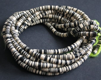 6 mm  African Vinyl Beads, Vulcanite Heishi Discs,  33- inch Long strand Black/Cream