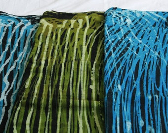 African Fabric by the Yard, Ghana Authentic  Ethnic Cotton Batik, Preshrunk and Hand-Dyed, Green/Turquoise Options
