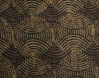 Black African Batik Fabric by the Yard, Ethnic Ghana Cotton Print,  Preshrunk, Hand-dyed and Printed, Black and Mustard