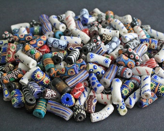 African Beads, Ghana Ethnic Krobo Recycled Glass Tubes, Mixed Lot