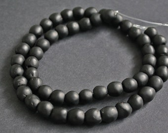 20 Black African Beads, Handmade Ghana Krobo  Recycled Glass, 10-12 mm Round,  for Jewelry and Crafts,