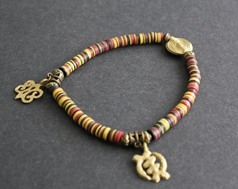 Stretchy Anklet, African Adinkra Jewelry, Vinyl Vulcanite Heishi Disc Beads with 2 Charms, Approx 9.3 inches,  Lovely Gift Idea