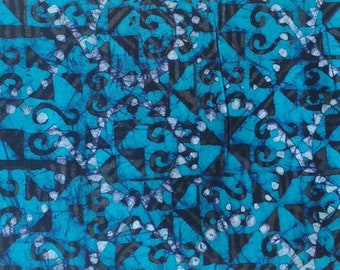 African Batik Fabric, Ethnic Ashanti  Print, Preshrunk, Hand-Printed, Bright Turquoise For Sewing, Crafts, Quilting,  by the Yard