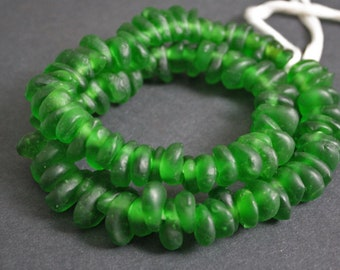 30 African Beads, Ghana Krobo Recycled Glass Teardrop-Shaped,  Translucent Bright Green, 16-18 mm, for Jewelry and Crafts