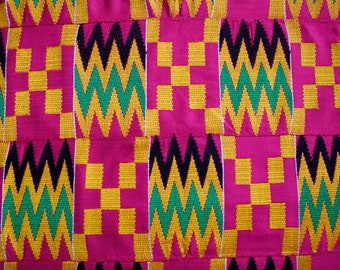 Pink Kente Cloth from Ghana, African Fabric, Wedding& Occasion Wear, Cotton, Fathia Design, 1 Large Piece Approx 62 x 38 inches