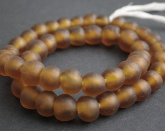 15 Golden Brown African Beads, Recycled Glass, Ghana Krobo  Round, 13-15 mm,  Handmade for Jewelry and Crafts,