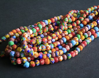55 African Beads Ghana Krobo Refashioned Glass, Mixed Colours/Designs, Hanmade 10-11mm Round, for Jewelry and Crafts, 1 full strand,