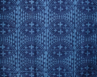 African Fabric by the Yard, Authentic Ghana Cotton Cloth, Preshrunk, Hand-dyed Ethnic Print, Blue/Navy, Clothing, Interiors, and Crafts