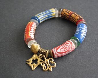 7-inch Chunky African Adinkra Bracelet, Ghana Krobo Recycled Glass, Brass Beads & 2 Charms, Gift Idea