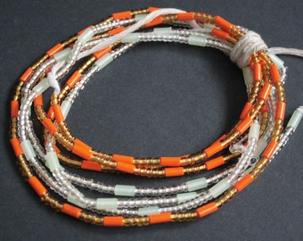 2 Strands Waist Beads/seed beads,  Frosty white, Orange and Gold, with Cotton Tie Cord, 44 inches