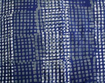 African Fabric, Ghanaian Cotton Print Batik, Blue, White & Grey, Preshrunk, Hand-dyed Cotton, Stunning! 2 Pieces