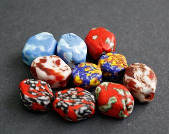 10 African Beads, Ghana Krobo Refashioned Glass, 6-Sided, Handmade  15-20 mm, 10-Pack, Mixed Designs