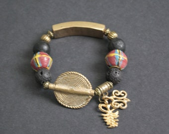 Adinkra African Bracelet, Ghana Krobo Glass Beads, with Brass Beads and 2 Adinkra Charms,Approx 7 inches