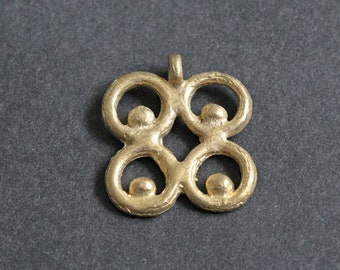 African Brass Pendant, Handmade Ashanti  Adinkra* Symbol of Wisdom, Knowledge and Prudence 33 mm, for Jewelry or Crafts
