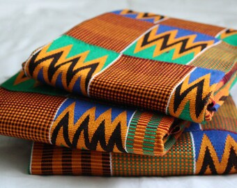 Kente Cloth, Authentic Handwoven Ghana Ethnic, Fabric Multi-Coloured, Excellent Weave, Simply Stunning! Large Pieces, 2 Size Options