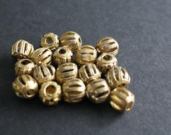18 Small African Brass Beads, Handmade Ghana Ashanti Ethnic Lost Wax beads 9mm Round