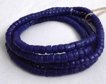 Cobalt Blue African Beads, Ghana Krobo Recycled Glass Spacers, 5-7 mm, Handmade Ethnic Beads, Full Strand of 110