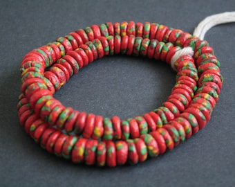 40 Red African Disc Beads, Refashioned Glass Spacers, Handmade in Ghana's Krobo, 10-12 mm