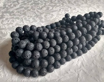 Natural Lava Beads, 10 or 12mm. 1 full strand 15 inches, Charcoal