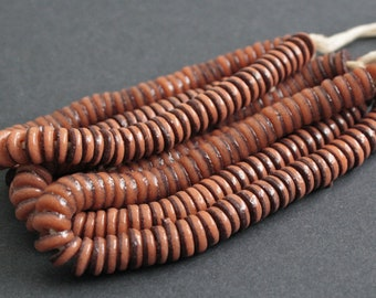 70 African Disc Beads, 10-11 mm Spacers, Handmade Ghana Recycled Glass 2-Layer Chocolate Brown