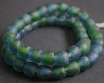 45 African Beads, Ghana Krobo Recycled Glass, Green and Blue Multi-tones, 13-15 mm, Handmade for Jewelry and Crafts, 1 Full Strand