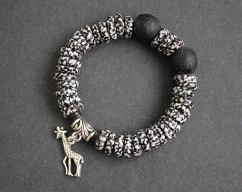 African Jewelry Jewellery Bracelet Glass Stretchy Refashioned Glass Beads Black and White with Giraffe Charm, Lovely Gift Idea
